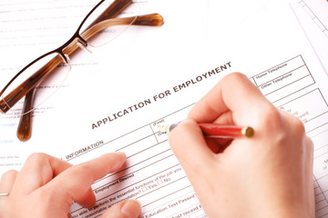 Completing an employment application