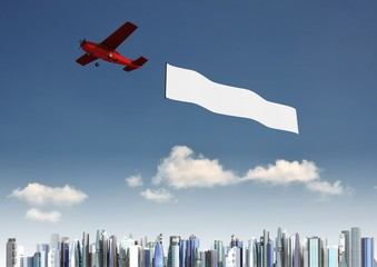 Airplane banner Template with modern city background