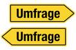 2 Pfeilschilder gelb UMFRAGE