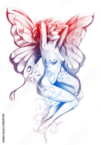 Nude fairy. Fantasy sketch of tattoo art, naked woman figure - 40647410