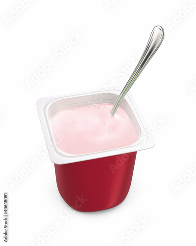 Single-serving pot of strawberry yogurt with spoon