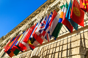 Vienna, Austria - international set of flags on Hofburg palace