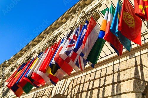 Vienna, Austria - international set of flags on Hofburg palace