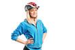 A smiling female athlete wearing helmet