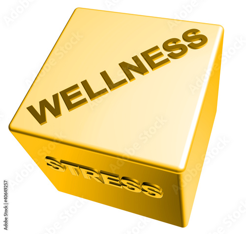 3D Goldwürfel - WELLNESS - STRESS