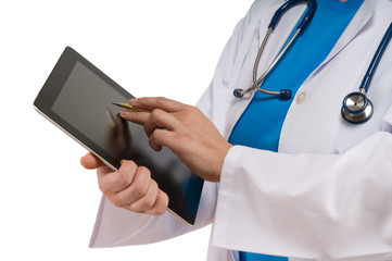 Doctor pointing on digital tablet isolated on white background