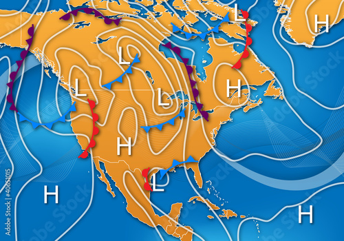 Weather Map of North America - 40651015