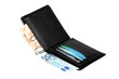 Wallet with euro banknotes isolated with clipping path.