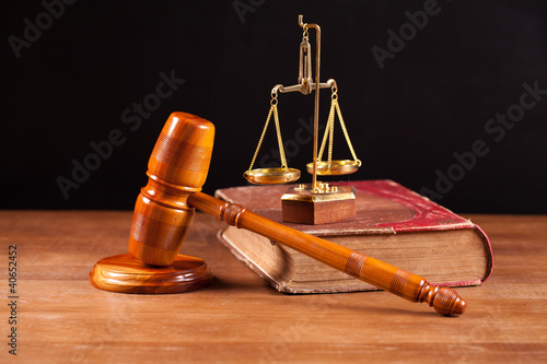 judge gavel book and balance
