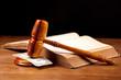 judge gavel money and  law bok