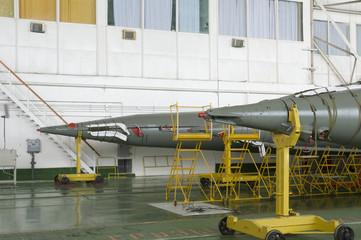 Soyuz space rocket assembly building. Baikonur Cosmodrome