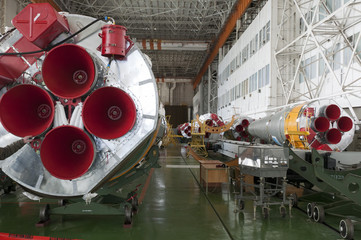 Soyuz space rocket assembly building. Baikonur Cosmodrome