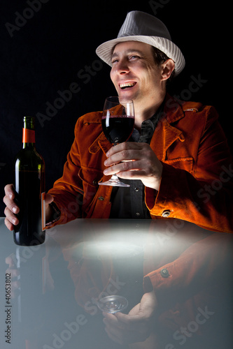 happy man with red wine
