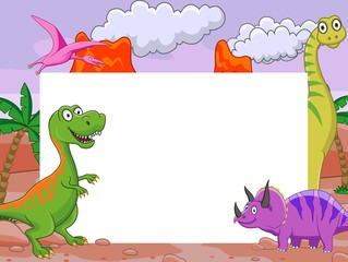 Dinosaur cartoon with blank sign