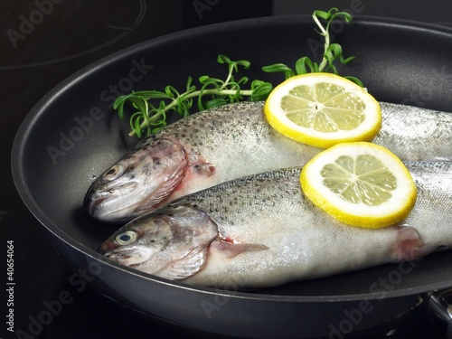 Trout on frying pan