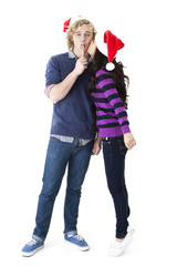 christmas kissing couple