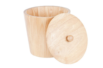 wooden tub on white with clipping path