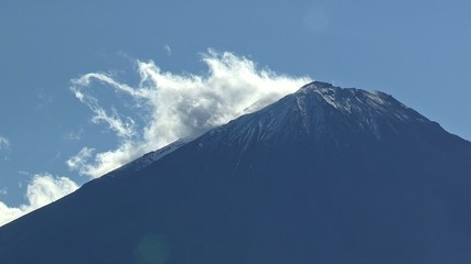 Mt.Fuji and Flow of the cloud,in Yamanashi,Japan