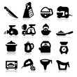 Kitchen utensil icons set – Elegant series