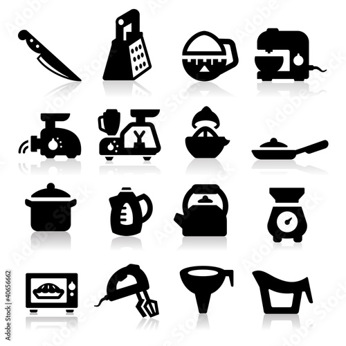 Kitchen utensil icons set – Elegant series