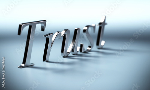 metal trust word 3d render with perspective