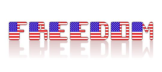 Vector USA flag letter inscription on a white background