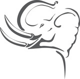 Gray elephant with big tusks on tribal tattoo poster