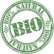 Grunge bio 100 percent natural rubber stamp, illustration