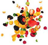 Fresh fruit pieces mix, isolated on white background