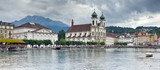 Panoramic view of Lucerne and Mount Pilatus (Switzerland)