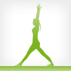 Virabhadrasana Eins Grün mit gestreckten Beinen