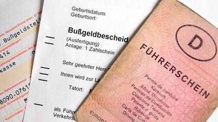 Bußgeldbescheid mit Führerschein