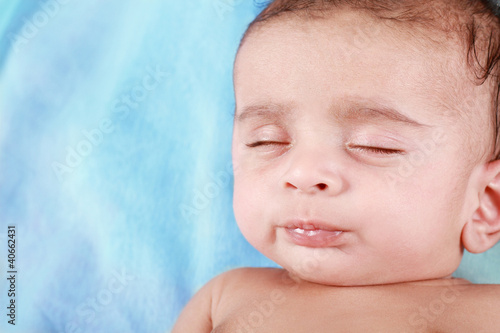 Sleeping Baby Boy with blue background