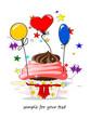 Einladung Geburtstag, Muffin und Ballons