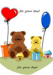 Bären mit Ballon und Muffin