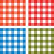 tissu vichy rouge, orange bleu et vert