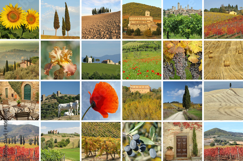 collage with fantastic tuscan landscape, Italy, Europe