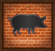 blackboard pig menu card brick wall background