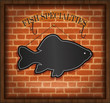 vector blackboard fish menu card brick wall restaurant