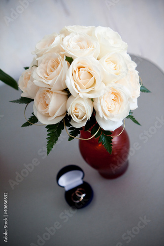 Bunch of flowers on gray table