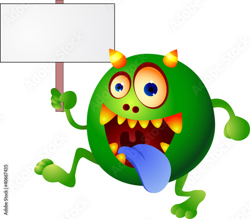 Monster cartoon with blanks sign