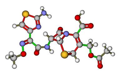 Cefotaxime, a cephalosporin antibiotic. Molecular structure