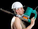 The builder  puncher-hammer with a drill of the big diameter poster