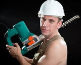 The builder  with a drill of the big diameter poster