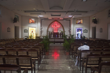 Interior of a church in Chennai, India