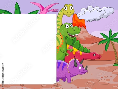Keuken foto achterwand Dinosaurs Dinosaur cartoon with blank sign