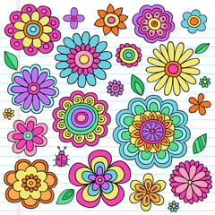 Flower Power Groovy Psychedelic Doodles Vector