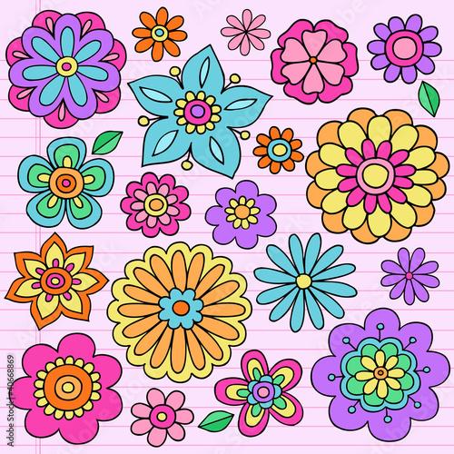 Flower Power Groovy Psychedelic Doodles Vector
