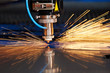 Leinwanddruck Bild - Laser cutting of metal sheet with sparks