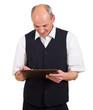 Mann arbeitet auf Touchpad